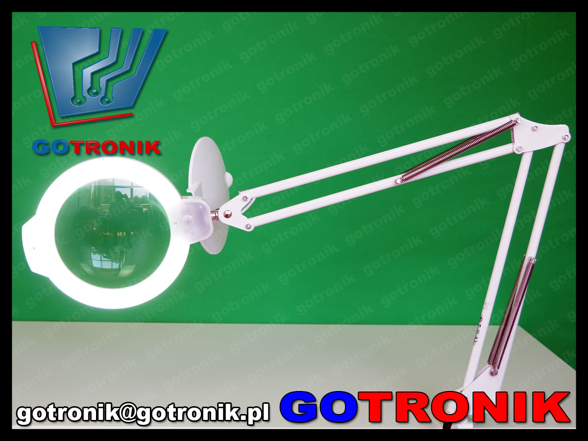 lampa z lupą powiększająca soczewka 5dioptrii lampa led x36 10w 6cali 152mm warsztatowa kosmetyczna biała statywie LAM-027