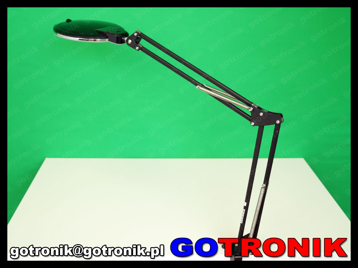 lampa z lupą powiększająca soczewka 5dioptrii lampa led x36 10w 6cali 152mm warsztatowa kosmetyczna czarna LAM-028