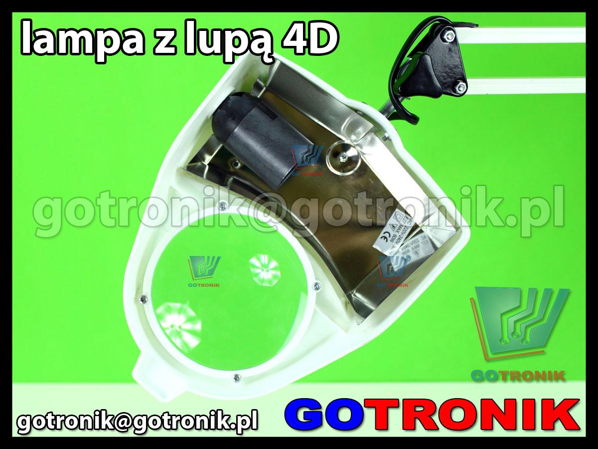 Lampa 60W z lupą 100mm powiększenie x2 soczewka 4D dioptrie