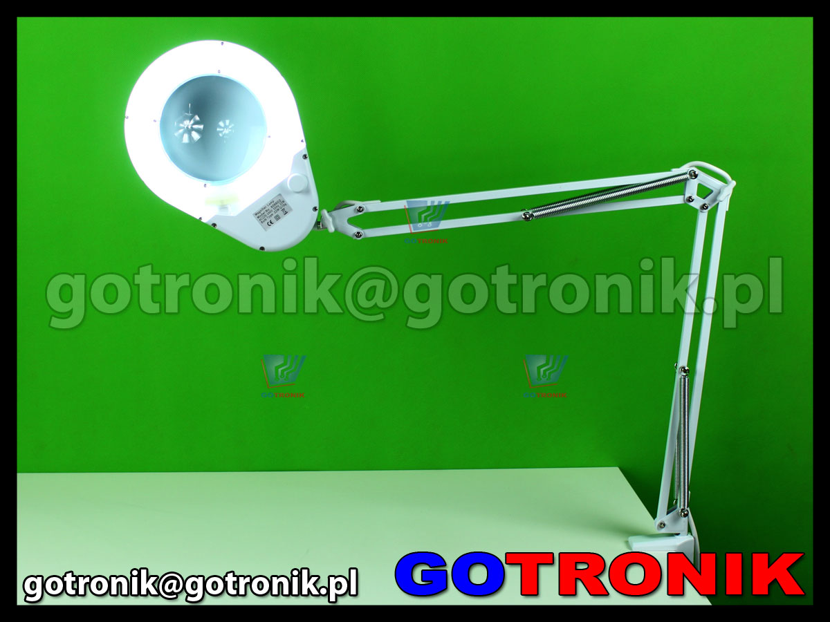 Lampa 8066D2-7C z lupą 5D powiększenie x2,25 przykręcana do blatu