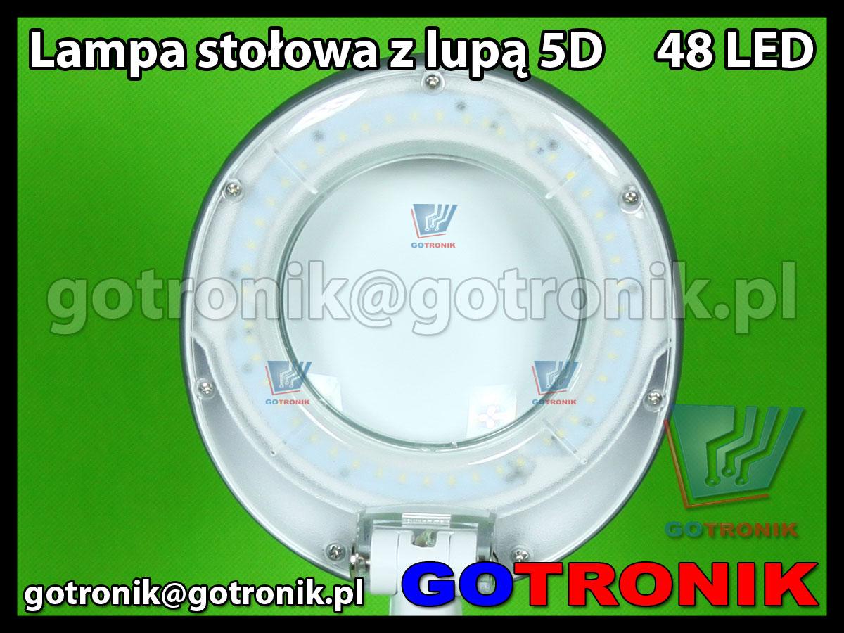Lampa stołowa biurkowa z lupą 127mm powiększenie x2,25 soczewka 5D dioptrie