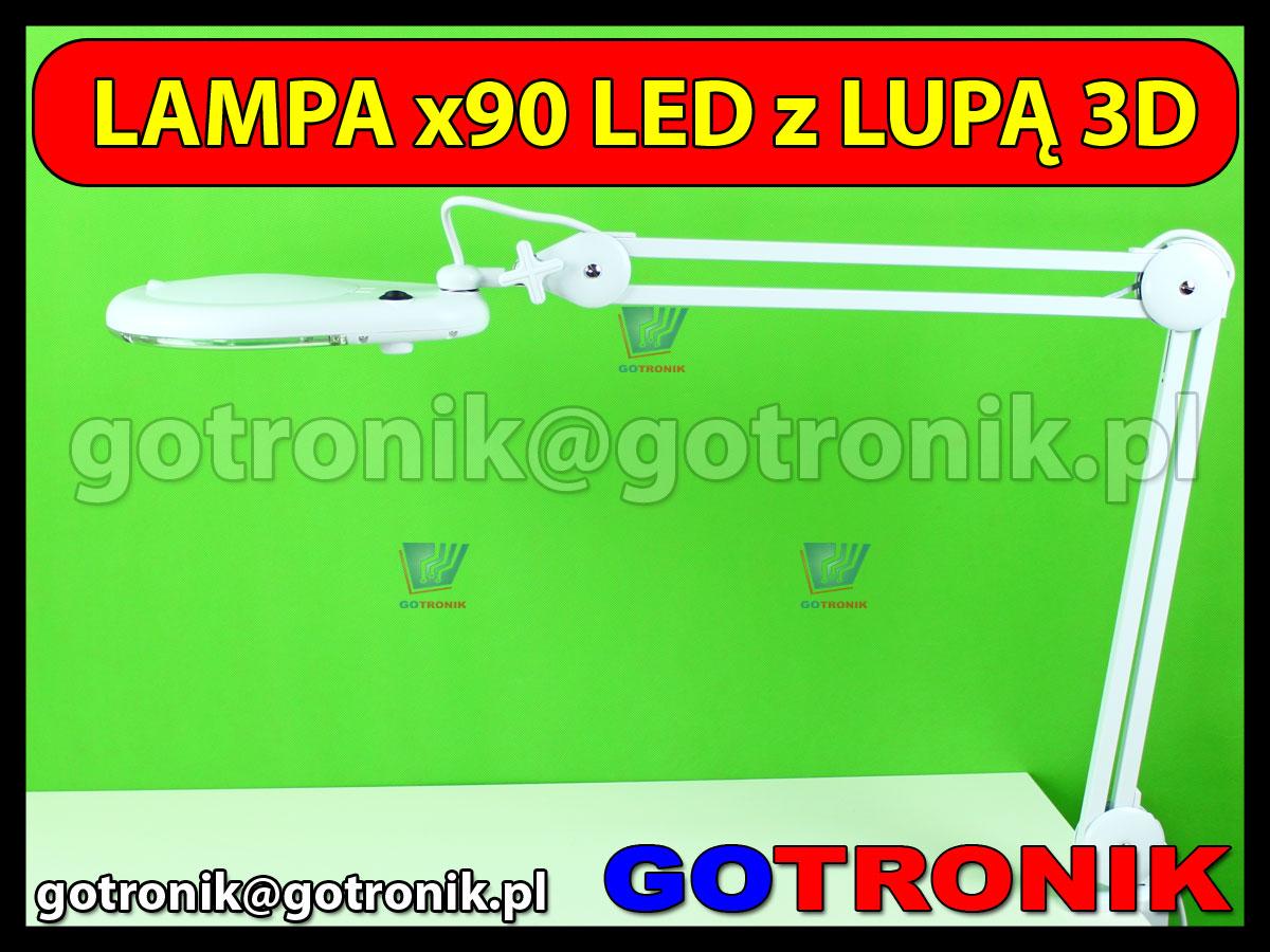 Lampa x90 diod LED z lupą o powiększeniu 3D x1,75
