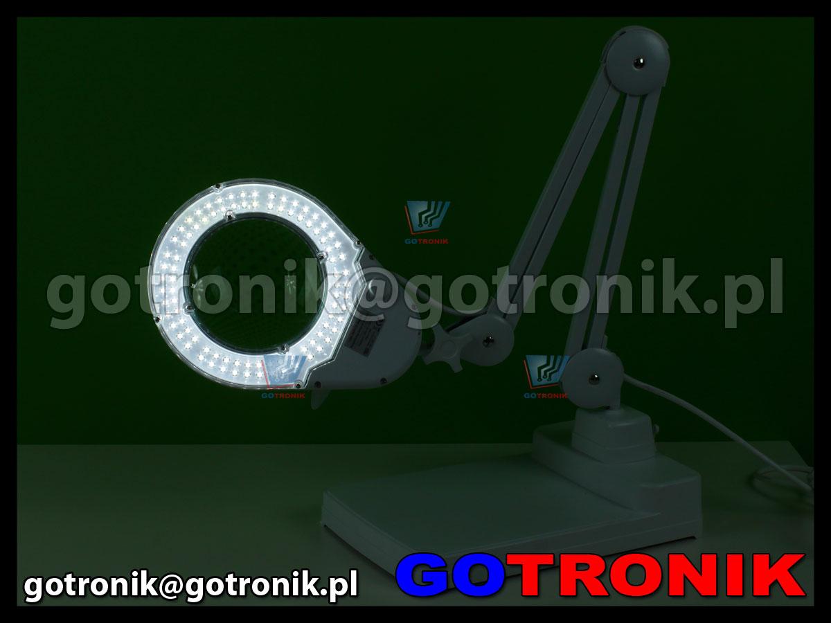 Lampa x90 diod LED z lupą o powiększeniu 5D x2,25 z podstawką na stół biurko