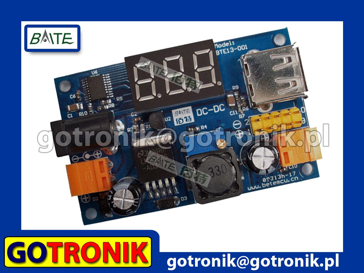 Przetwornica napięcia LM2596 + woltomierz LED + wyjście USB, step down, usb, woltomierz