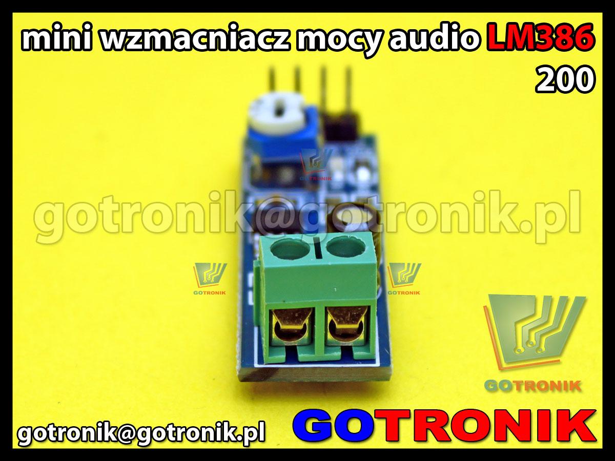 Moduł wzmacniacza mocy audio LM386 wzmocnienie napięciowe 200