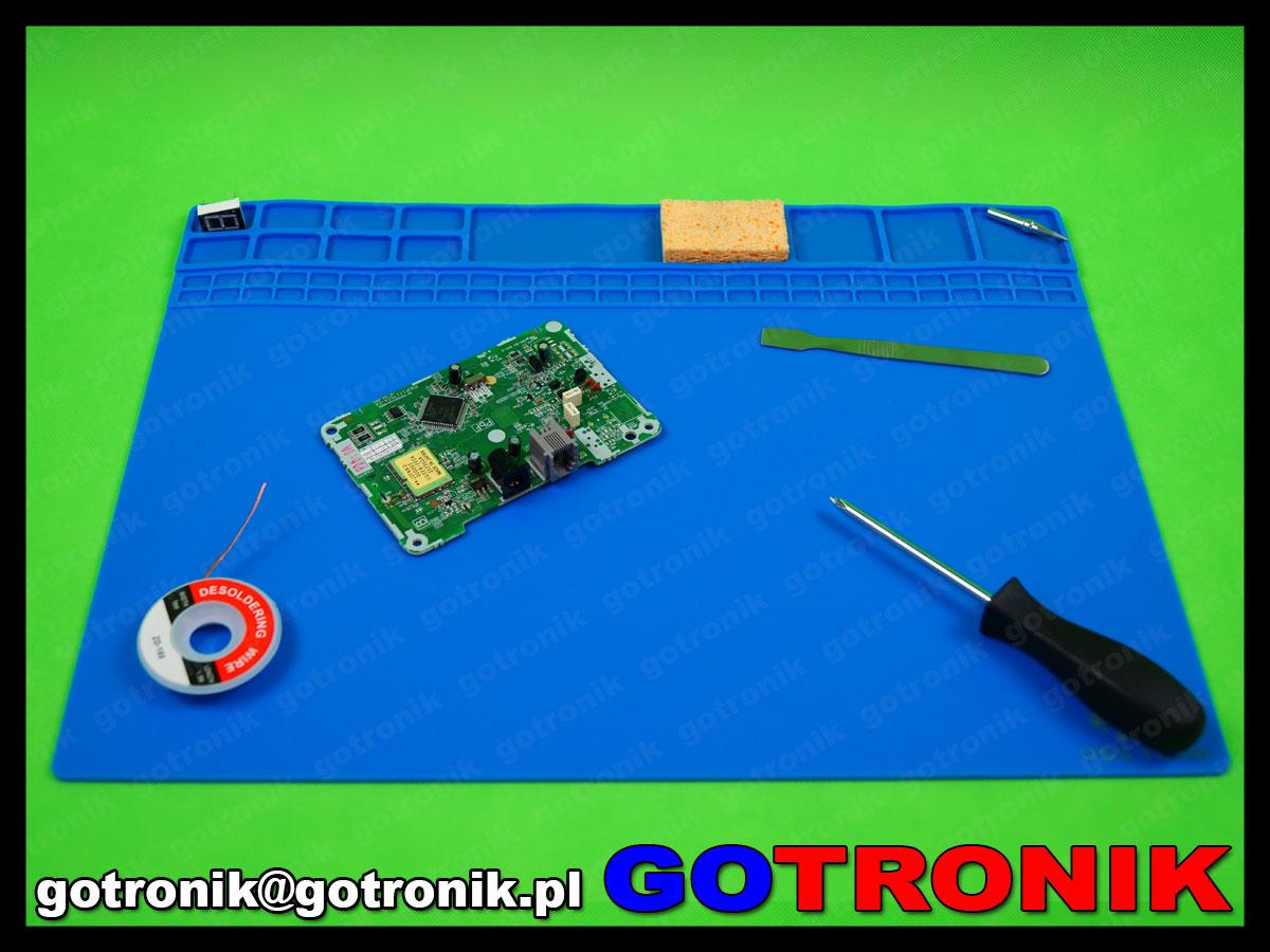 silikonowa mata, serwisowa warsztatowa mata do napraw GSM odporna na temperaturę 40x30cm 405x305x3 NIEBIESKA MAT-007