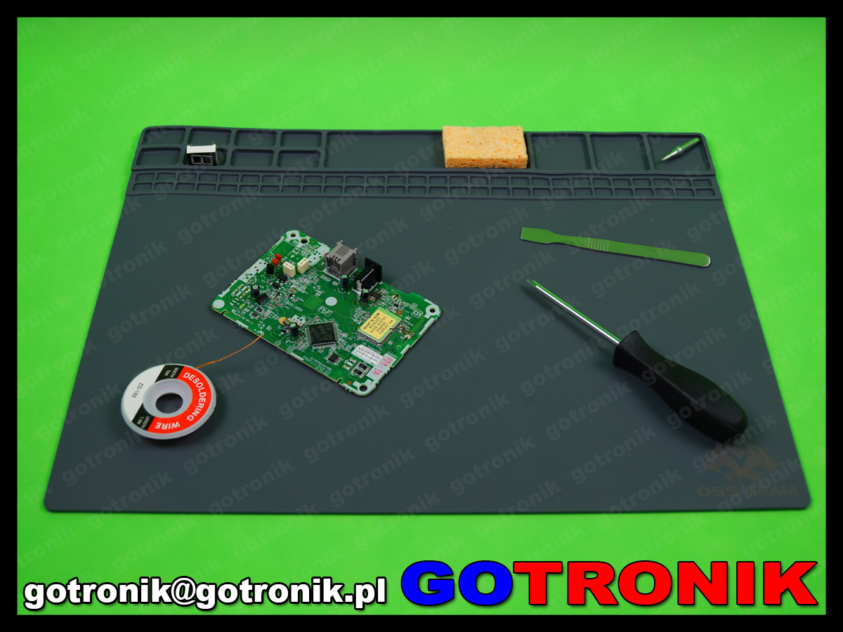 silikonowa mata, serwisowa warsztatowa mata do napraw GSM odporna na temperaturę 40x30cm 405x305x3 CZARNA MAT-008