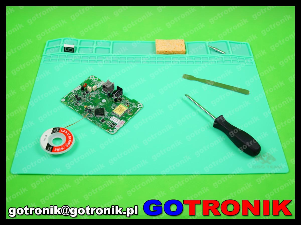 silikonowa mata, serwisowa warsztatowa mata do napraw GSM odporna na temperaturę 40x30cm 405x305x3 ZIELONA MAT-006