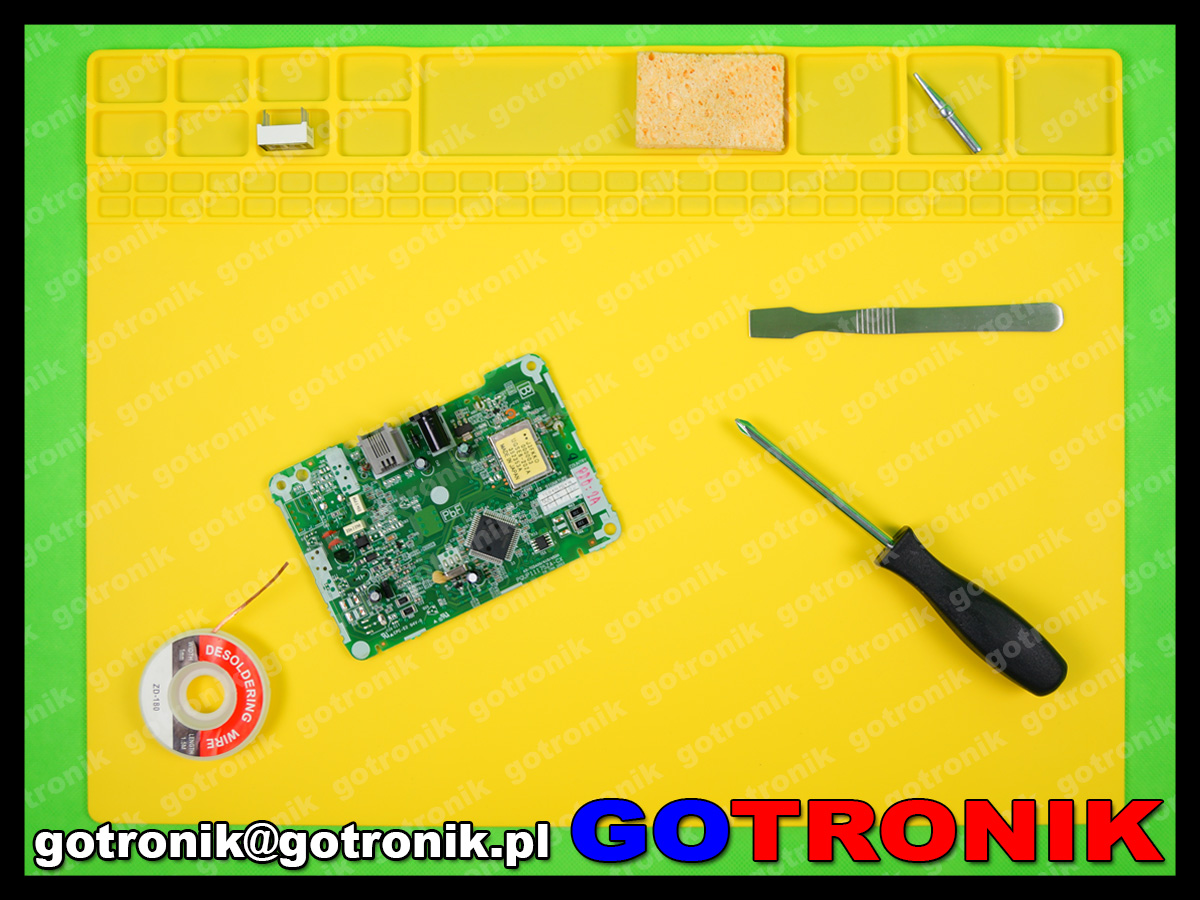 silikonowa mata, serwisowa warsztatowa mata do napraw GSM odporna na temperaturę 40x30cm 405x305x3 żółta MAT-009