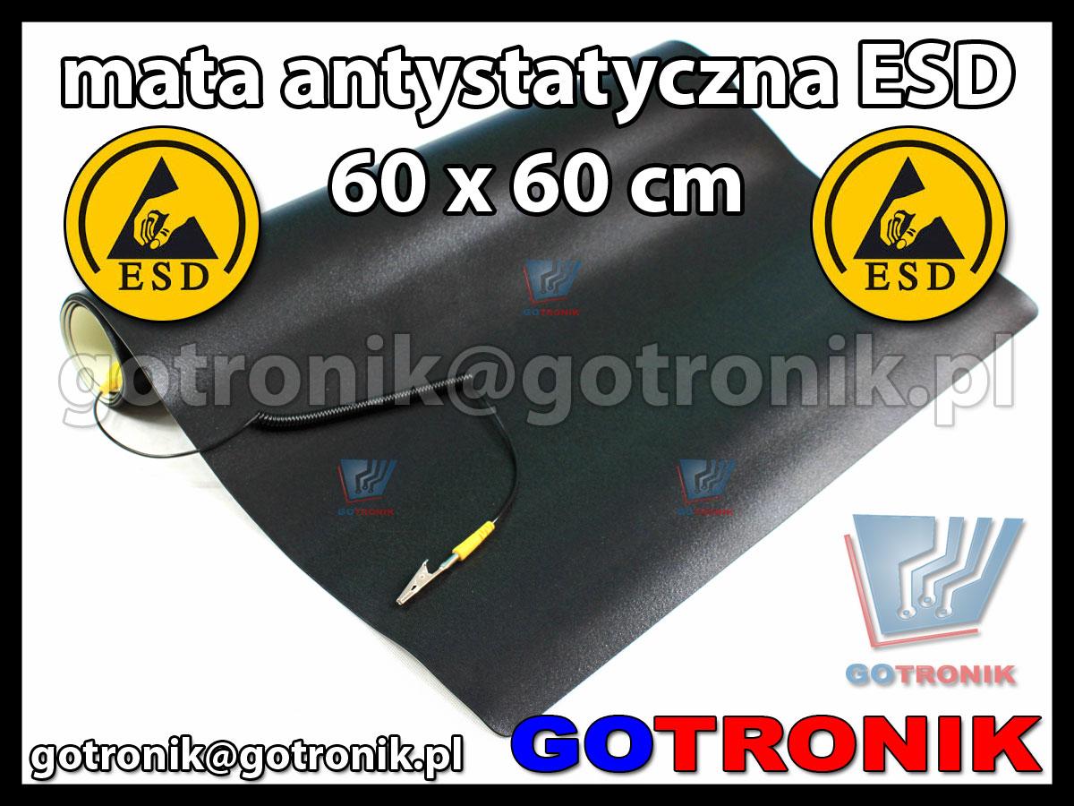 mata antystatyczna ESD 60x60cm z przewodem uziemiającym