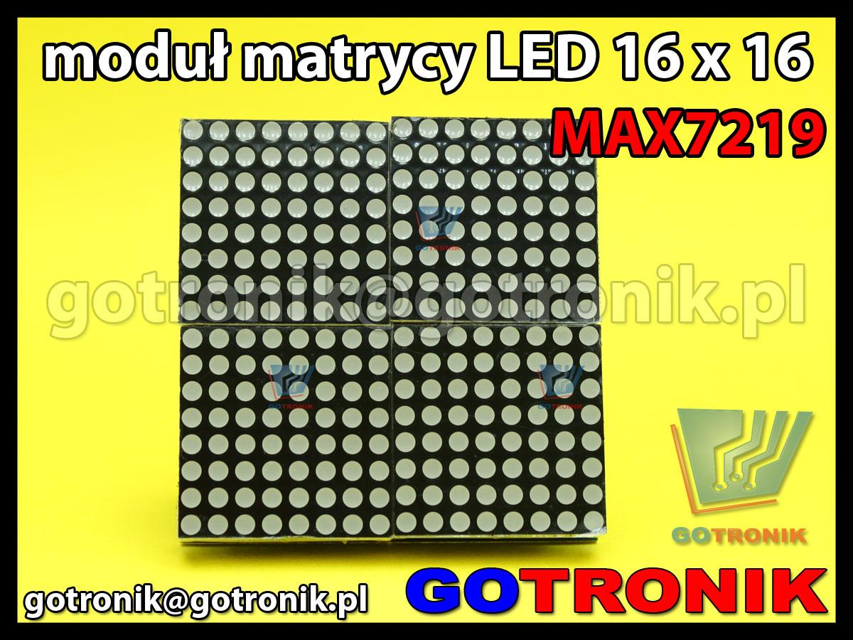 Moduł wyświetlacza matrix 16x16 sterowanego układem MAX7219
