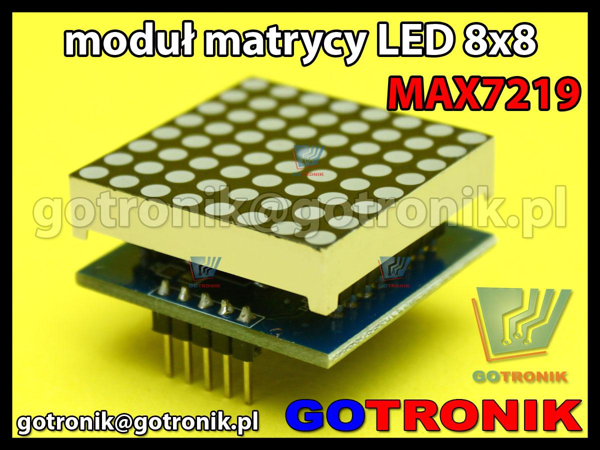 Moduł wyświetlacza matrycy LED matrix 8x8 sterowanego układem MAX7219 SPI