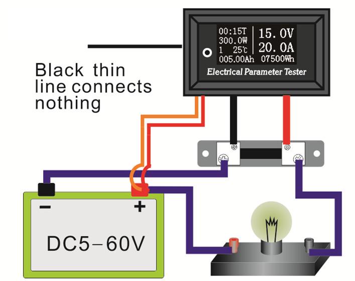 podłączenie panelowego miernika napięcia i prądu z bocznikiem