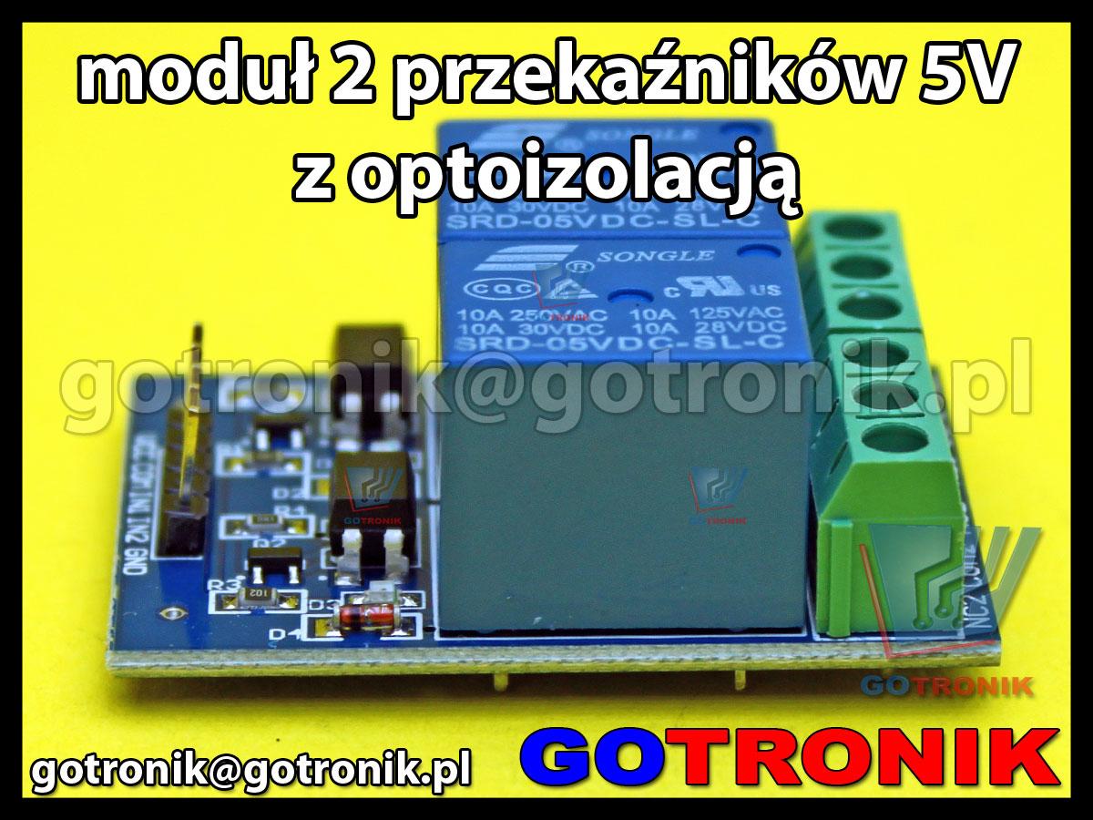 Moduł 2 przekaźników 10A  sterowanych napięciem 5V z optoizolacją