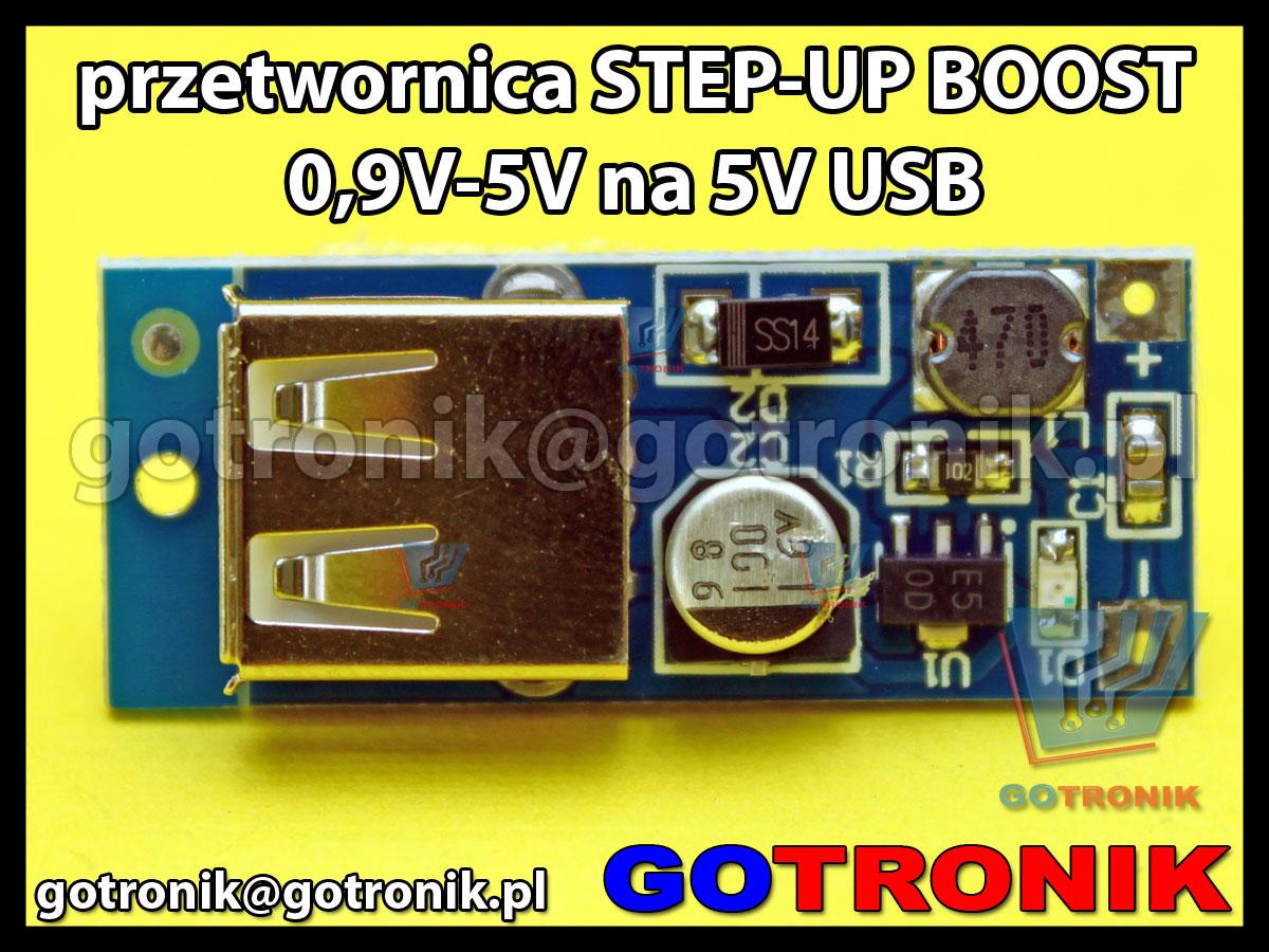Przetwornica STEP-UP BOOST 0,9V-5V na 5V USB 600mA