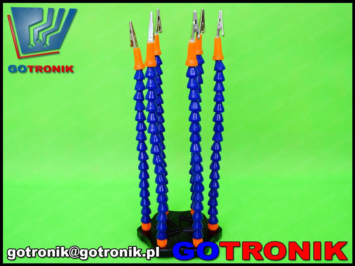 NAT-085 uchwyt serwisowy sześcio ramienny 6 rączka trzecia ręka NAR085 z aluminiową podstawą, elastyczne ramiona 32cm