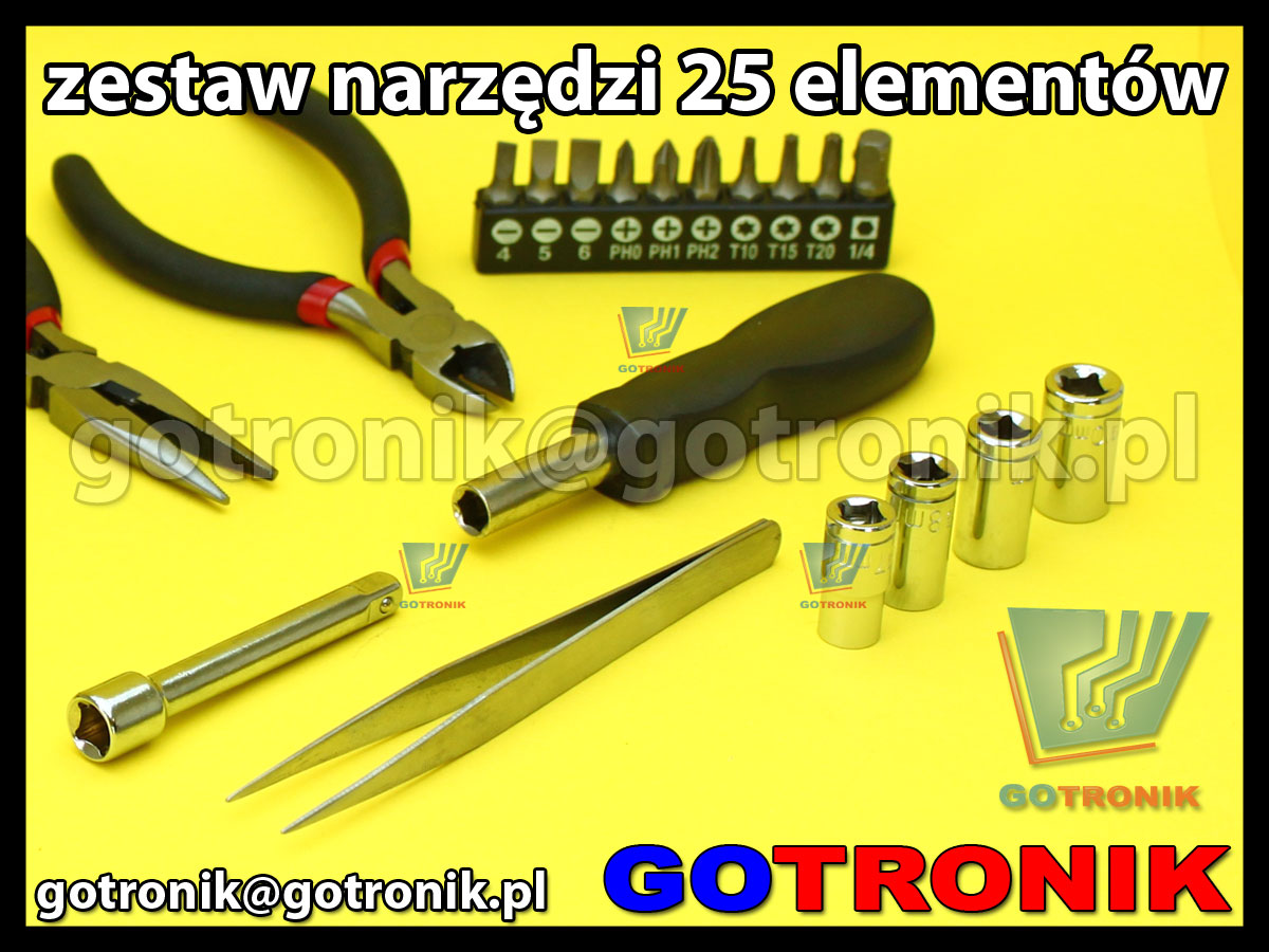 Zestaw 25 sztuk narzędzi do elektroniki w torbie.