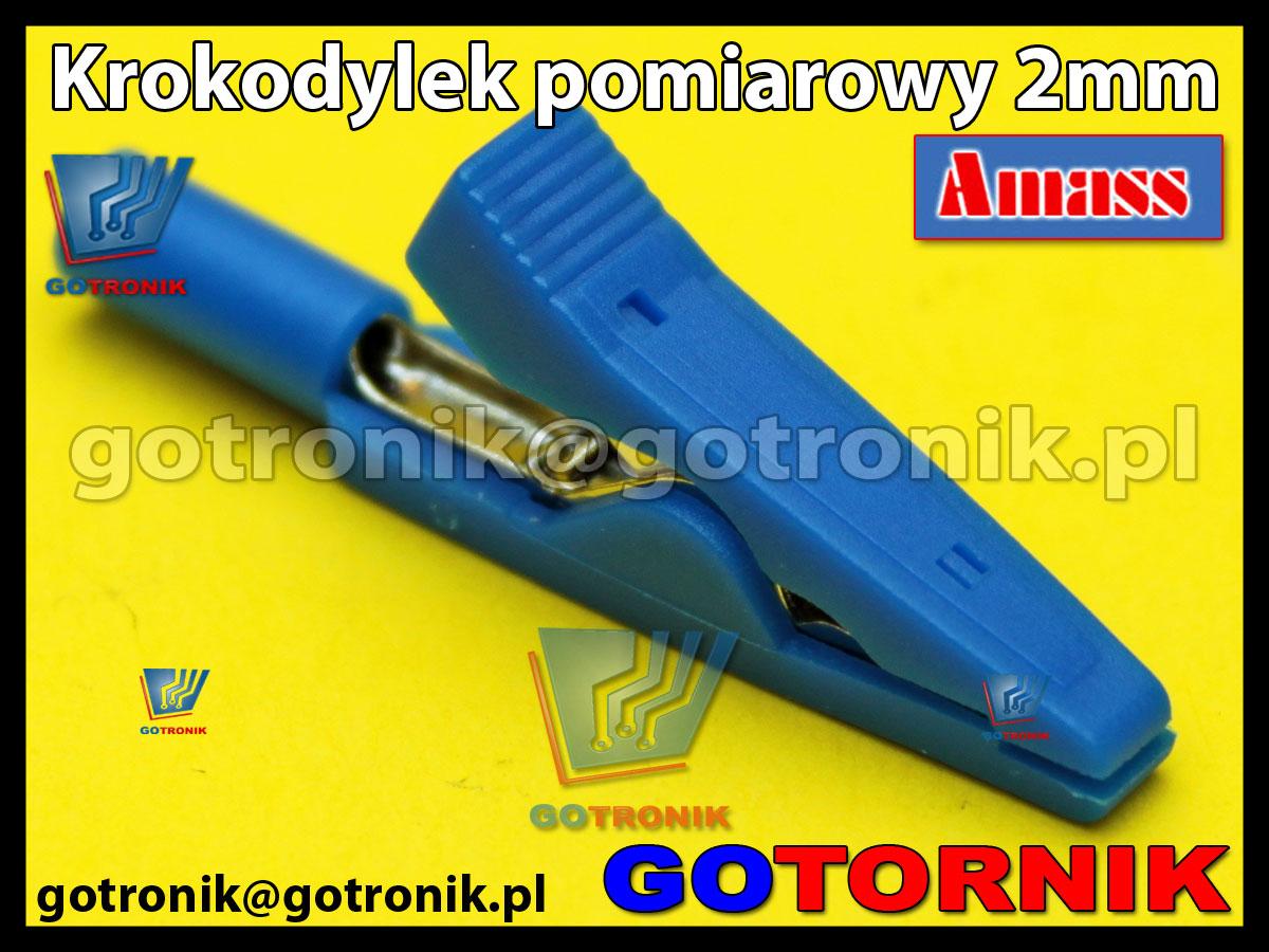 Krokodylek pomiarowy 2mm niebieski