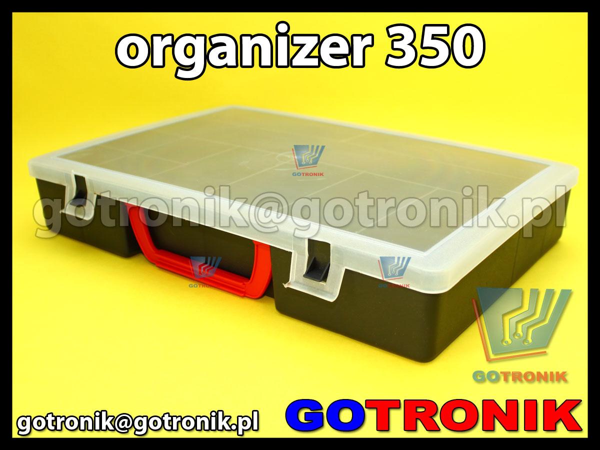 organizer 350 o wymiarach zewnętrznych: 345x245x60mm posiadający 11 przegródek, półprzeźroczystą pokrywę (transparentną) z zapięciem