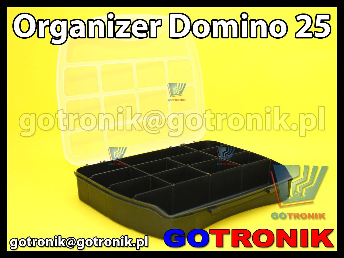 organizer domino 25 o wymiarach zewnętrznych: 250x200x44mm posiadający 12 przegródek, półprzeźroczystą pokrywę (transparentną) z zapięciem