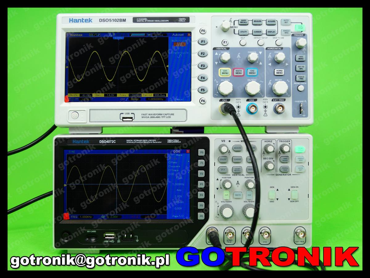DSO4102C oscyloskop cyfrowy 2x100MHz Hantek z generatorem funkcyjnym DDS 25MHz arbitralnym LCD USB