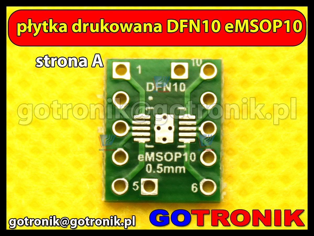 Płytka drukowana DFN10 eMSOP10 raster 0,5mm na DIP10