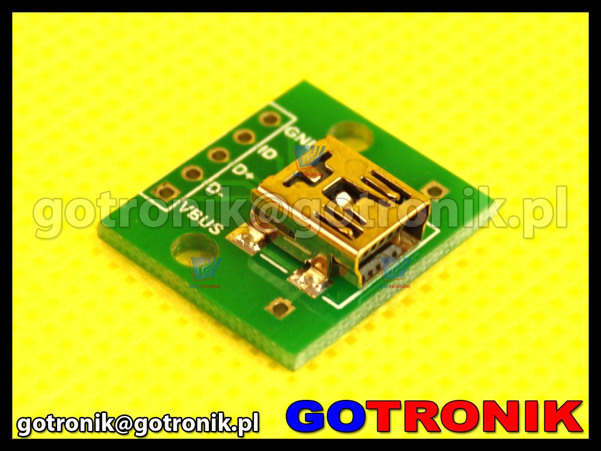Płytka drukowana ze złączem mini USB