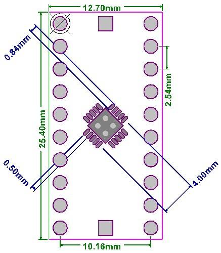 Płytka drukowana QFN20 raster 0,5mm 0,65mm DIP20