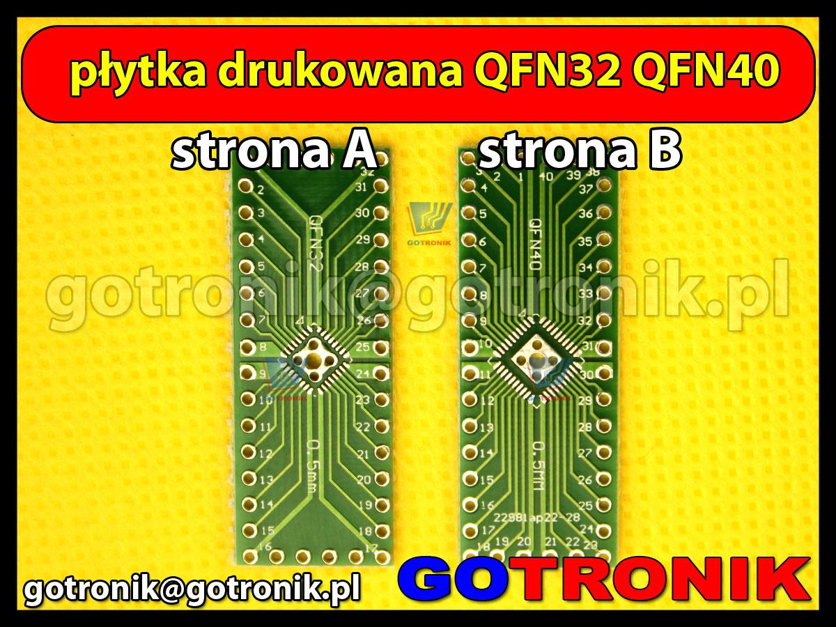 Płytka drukowana QFN32 5x5mm QFN40 6x6mm raster 0,5mm DIP