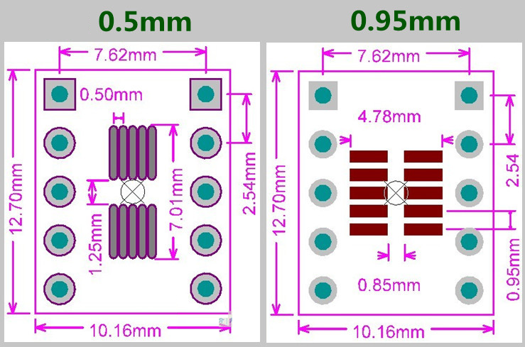 Płytka drukowana SOT23-3 SOT23-5 SOT23-6 raster 0,95mm SOP10, MSOP10, UMAX10 raster 0,50mm DIP10