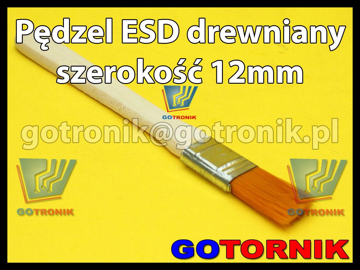 Pędzel pędzelek ESD do topników i past 12mm drewniany