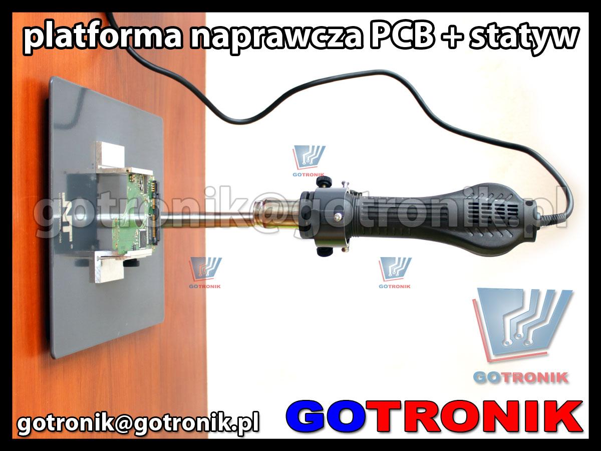 Platforma naprawcza F-202 z uchwytem do płytek PCB + statyw do kolby HOT-AIR