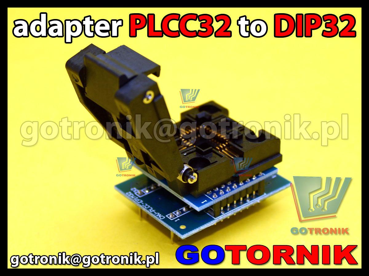 PLCC32 to DIP32 adapter uniwersalny 1:1 do programatorów pamięci z podstawką ZIF produkcji YAMAICHI