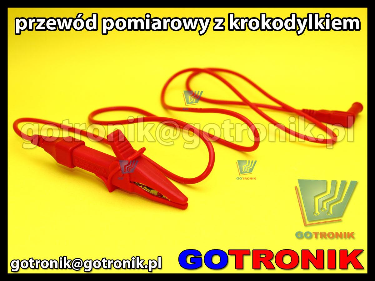 przewód pomiarowy 120cm z krokodylem czerwony CAT 600V 10A