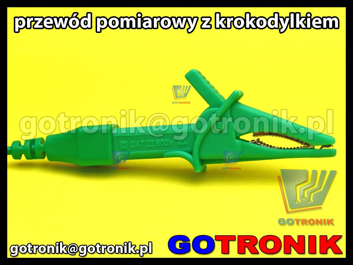 przewód pomiarowy 120cm z krokodylem zielony CAT 600V 10A