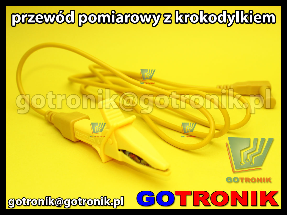 przewód pomiarowy 120cm z krokodylem żółty CAT 600V 10A