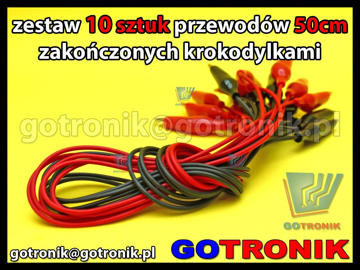 Zestaw 10 sztuk przewodów krokodyl-krokodyl 50cm kolor: czerwony + czarny