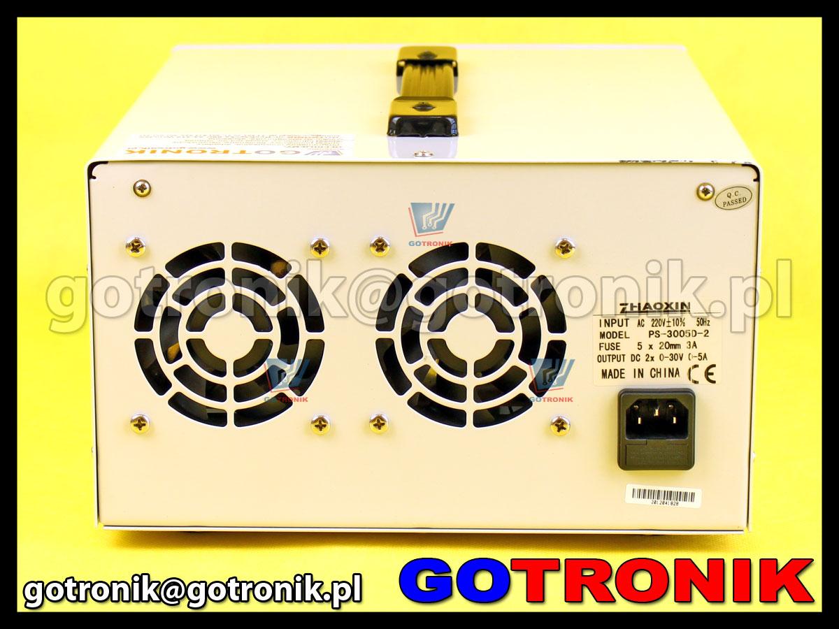 Zasilacz laboratoryjny symetryczny PS-305D-II potrójny 2 x 0-30V/5A + 5V/3A