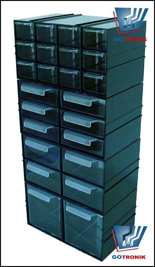 Przykład połączenia kilku typów szufladek z serii PX
