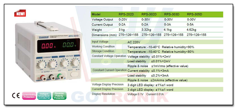 RPS-305 Zhaoxin zasilacz laboratoryjny regulowany 30V 5A