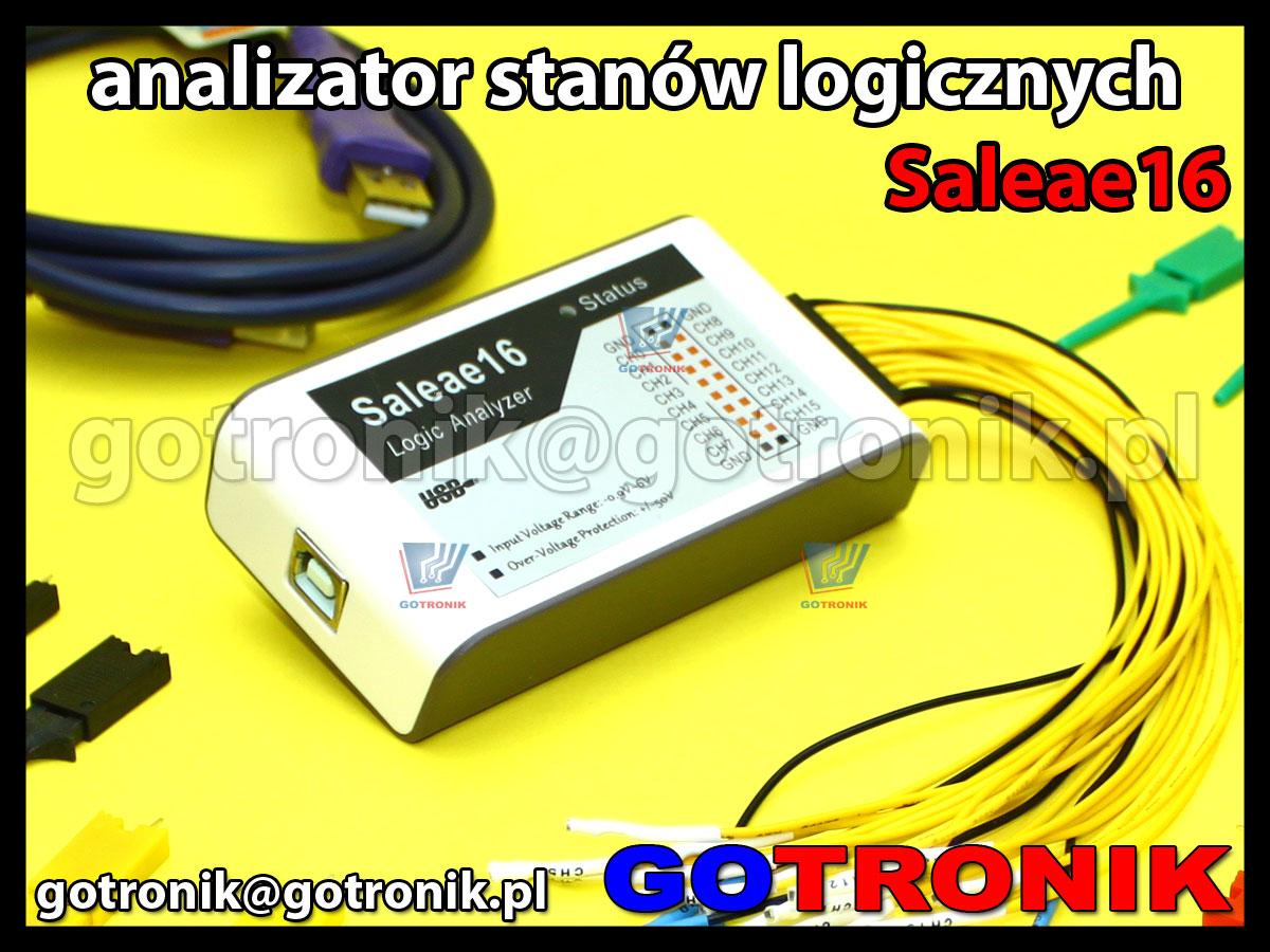 Saleae16 - analizator stanów logicznych 16-kanałowy. Obsługuje protokoły I2C, Async Serial, SPI, 1-Wire, CAN, I2S, PCM, UNI/O, Manchester, MP