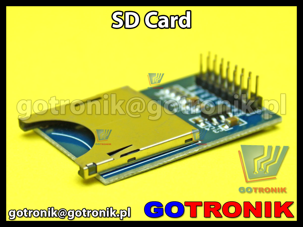 moduł gniazda SDcard sd -card do zastosowań z mikrokontrolerami AVR, PIC, ARM oraz modułami Arduino