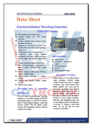 karta katalogowa generatora SDG1000 Siglent ze szczegółowymi parametrami technicznymi