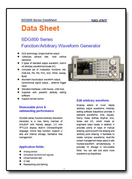 Kartakatalogowa z opisem i danymi technicznymi generatorówSDG800 Siglent
