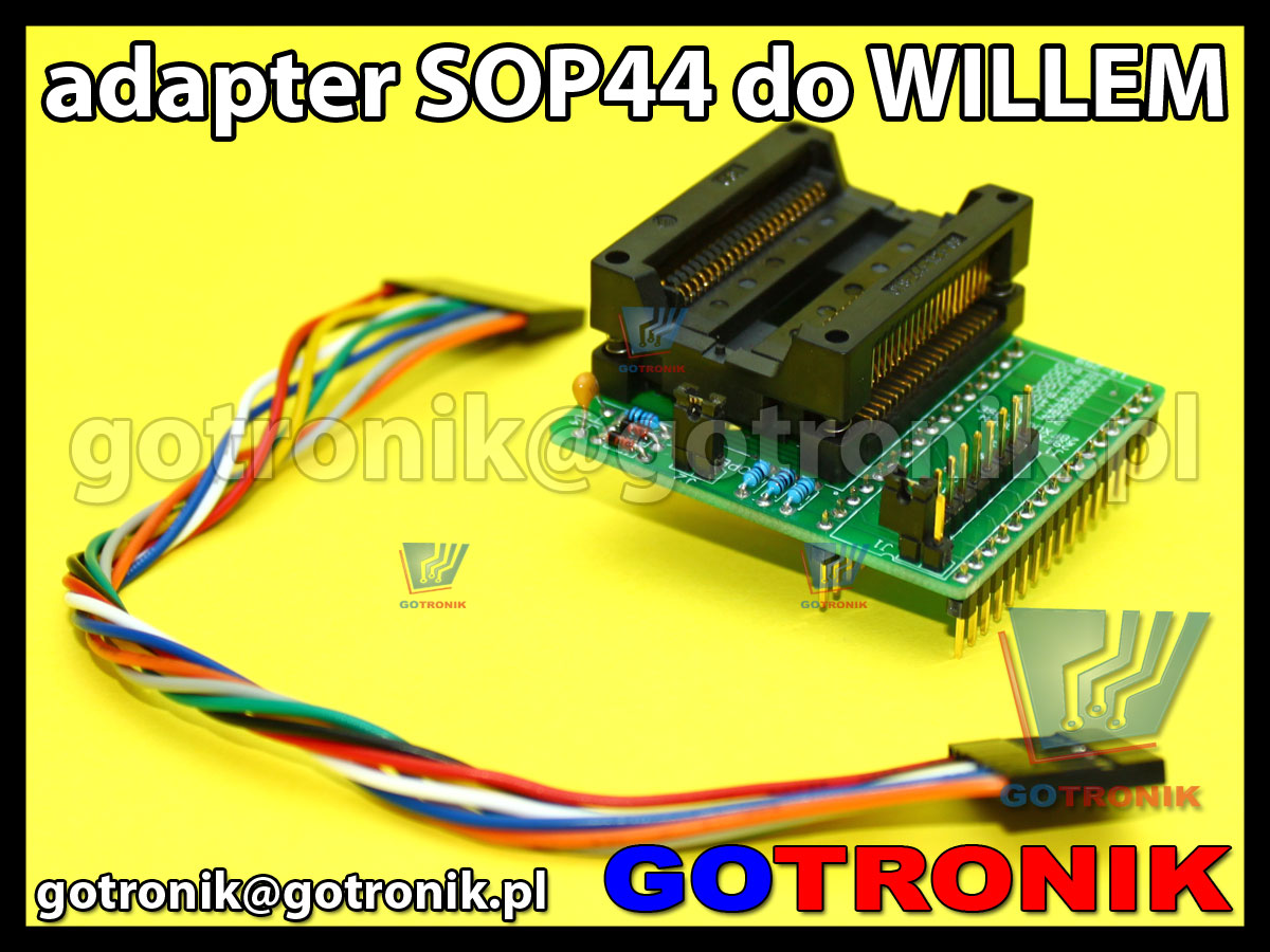 Adapter SOP44 do programatora Willem z podstawką testową. Adapter SOP44 to DIP32 29F200