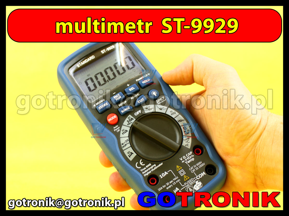 Multimetr cyfrowy ST-9929 True RMS IP67 ST9929