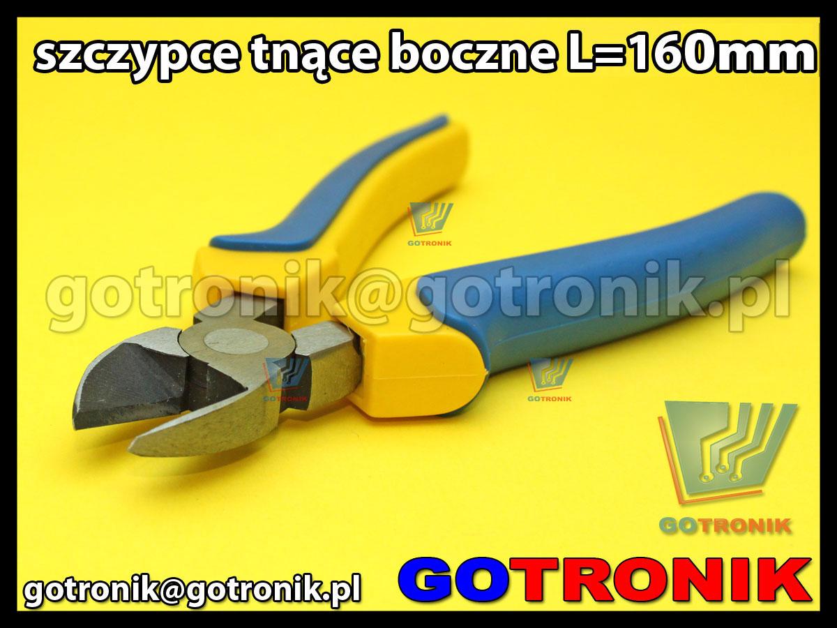 szczypce tnące boczne o długości 165mm, wyposażone w sprężynę rozpierającą, rękojeści pokryte tworzywem sztucznym - izolacja