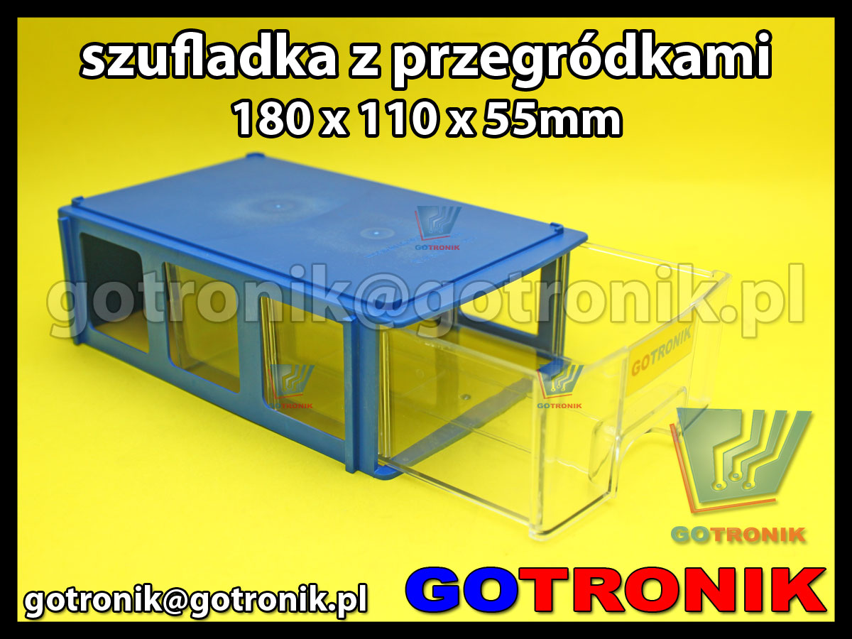 modułowa szufladka plastikowa magazynowa z przegródkami 180x110x55mm