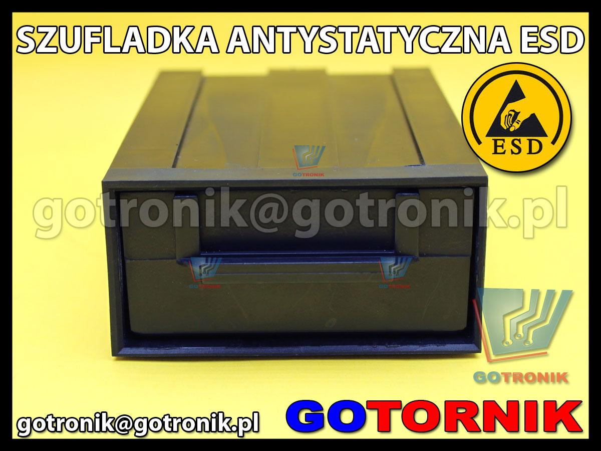 Szufladka antystatyczna ESD z przegródkami, pojemnik, szafka, oraganizer, szufladki na elementy i podzespoły elektroniczne CMOS