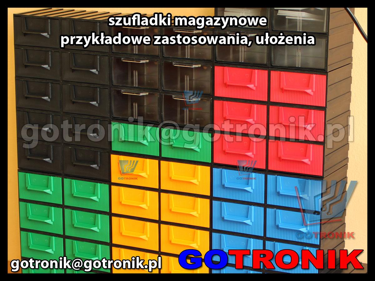 regał szufladek magazynowych - przykładowe zastosowanie ekspozycja